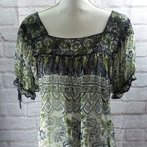 ICE Women's Sheer Green and Black Floral Top Boho